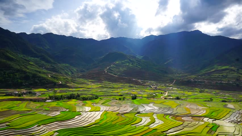 Rice fields on terraced in rainny season at Tu Le, Yen Bai, Vietnam. Light moving over the landscape. | Shutterstock HD Video #11488442