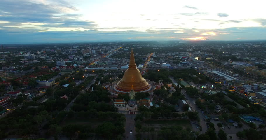 Aerial photograph Landmark Bird's-eye view Golden pagoda Phra Pathom Chedi of Nakhon Pathom province Asia Thailand  | Shutterstock HD Video #11516414