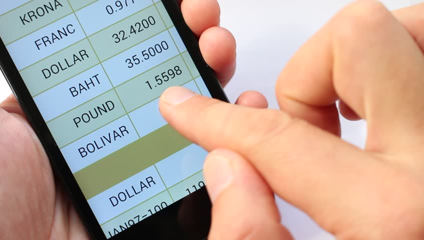A list of the world's national currency. Currency Rates On line. Exchange rates display in smart phone. Market Analysis. Currency symbol | Shutterstock HD Video #11544899