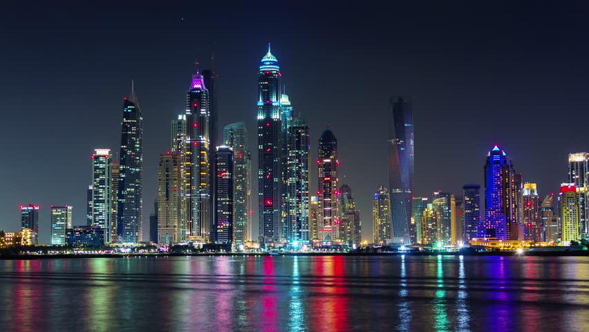 Dubai marina night light illumination palm bay panorama 4k time lapse uae | Shutterstock HD Video #11548706