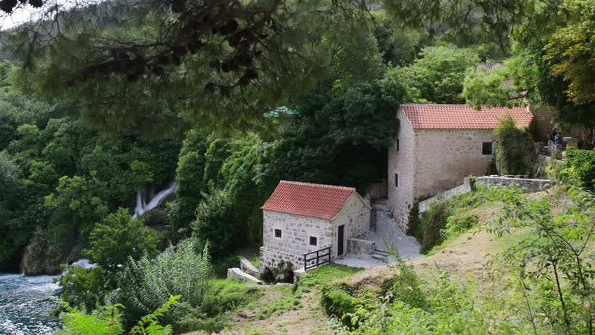 Stone old house of Krka National Park is one of Croatian national parks, named after river Krka that it encloses. It is located along middle-lower course in central Dalmatia, in Sibenik-Knin county - HD stock footage clip