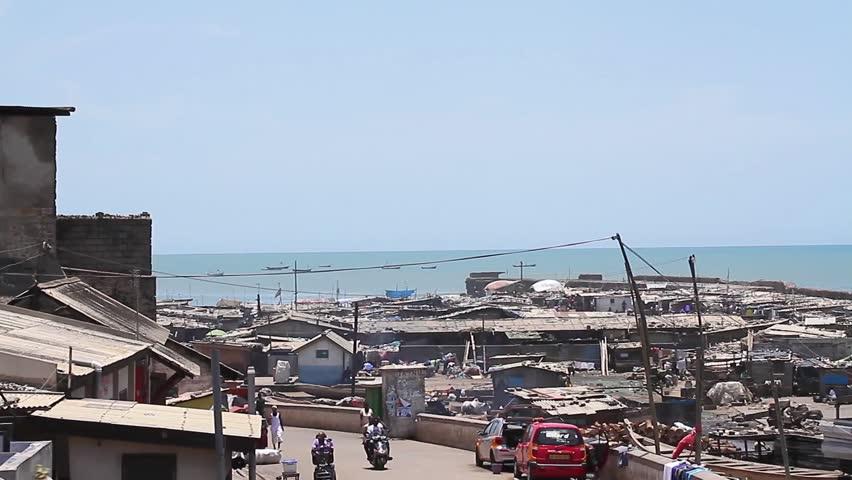 Fishing community, British James town, Ghana - HD stock video clip