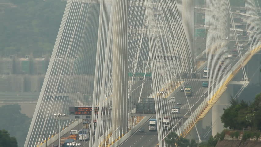 Span suspension bridge traffic - Hong Kong. | Shutterstock HD Video #11631704