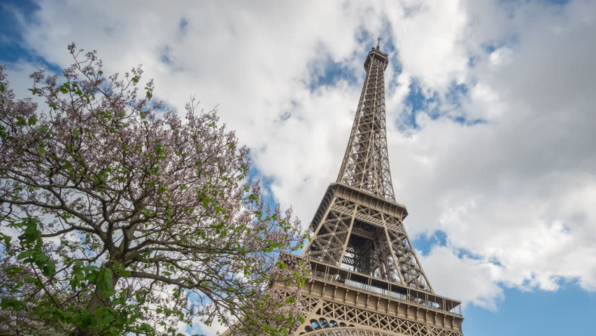 4k High section Time-lapse of The Eiffel Tower in Paris with blurred cars