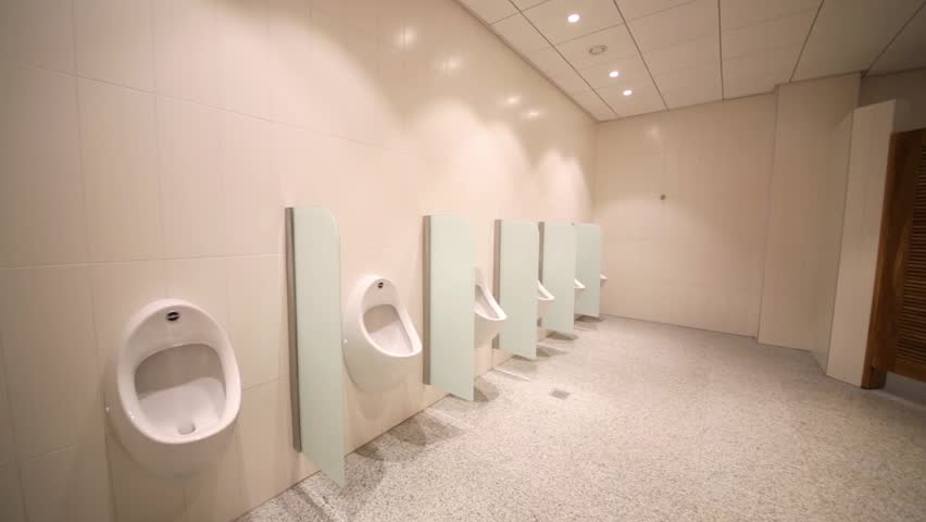 MOSCOW, RUSSIA - DECEMBER 5, 2014: Urinals and toilet cubicles in shopping center Aviapark. The center offers an extensive network of galleries, providing easy navigation through the building