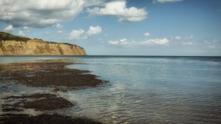 Coastal scene from Robin Hoods Bay HD stock footage. A beautiful coastal scene from Robin Hoods bay in Yorkshire, UK. ProRes.