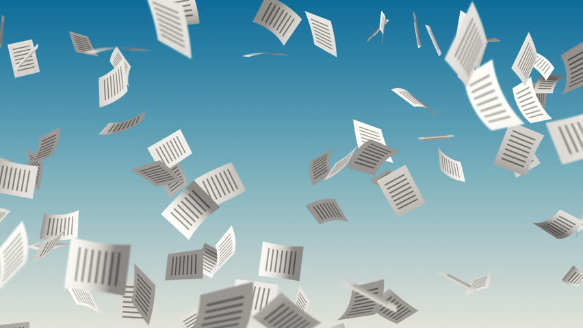 Animation flying paper documents with icon on cover. Business movie or movie about technology of computers and internet. Animation of seamless loop.