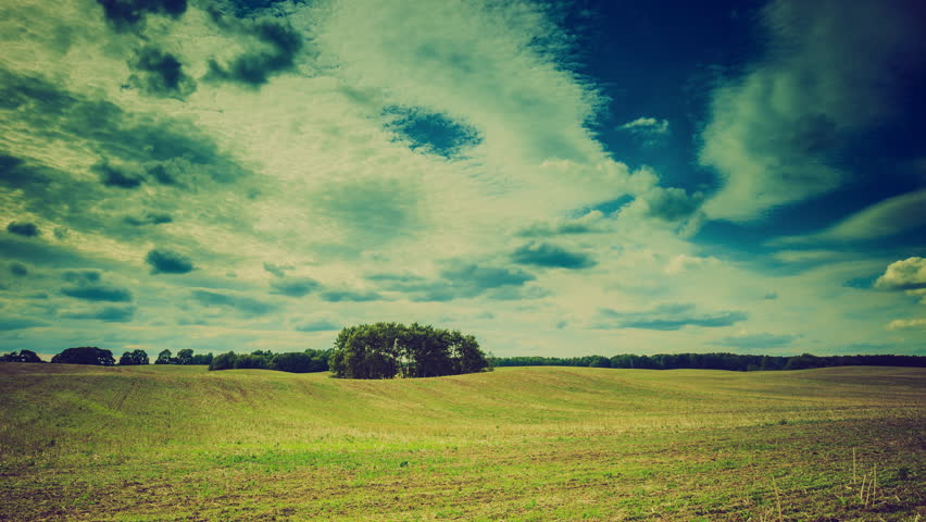 Vintage time lapse of stubble field and trees under cloudy sky. 3840x2160 4k #11716232