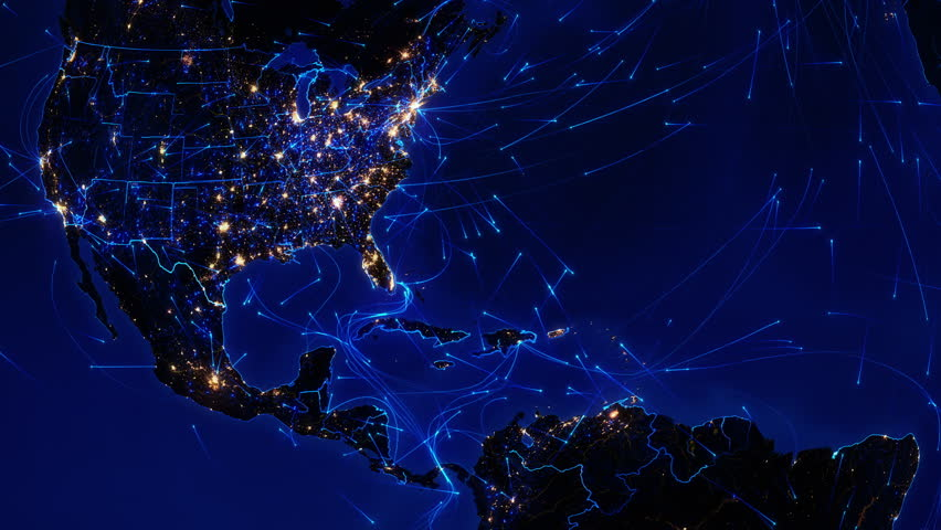 World connections. Central America. Aerial, maritime, ground routes and country borders. Animation of the Earth with bright connections and city lights. Locked. Blue. Images: http://www.nasa.gov. | Shutterstock HD Video #11728760