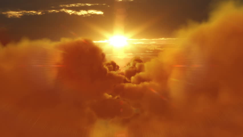Sunset over clouds. From day to night. Flight through fluffy clouds. More options in my portfolio. | Shutterstock HD Video #11740613