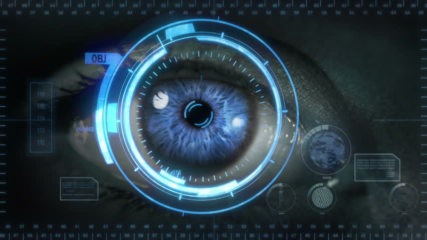 Human eye with futuristic interface. 2 in 1. Blue. Gray skin. Loopable. Technology. Augmented reality. More options in my portfolio.