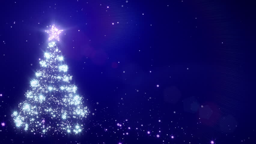 Christmas background with bright snow. Blue. Bright snowflakes falling forming a Christmas tree. Loopable from frame 391 to the end. With space for your text. - HD stock video clip