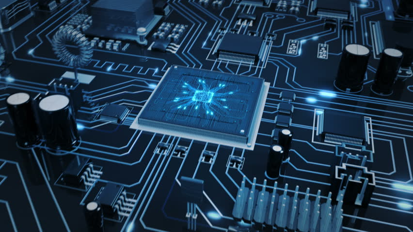 Flying over a futuristic circuit board with moving electrons ending on the CPU. Transparent blue. Technology background. This video is loopable from frame 588 to 851. More options in my portfolio.