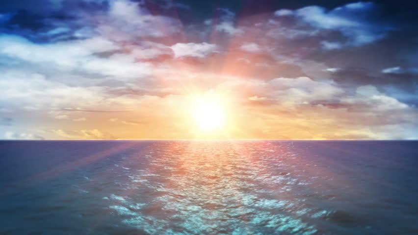 Ocean Sunset and Clouds (Loop)