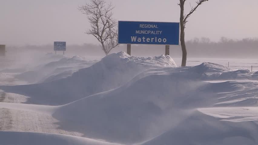 Waterloo, Ontario, Canada February 2014 Blizzard snowstorm stranded winter - HD stock footage clip
