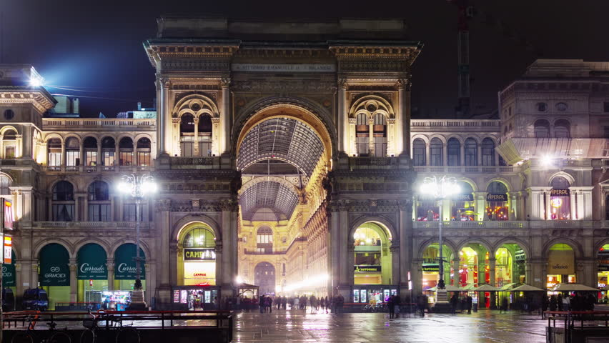night illumination milan city famous san carlo gallery square 4k time lapse italy
