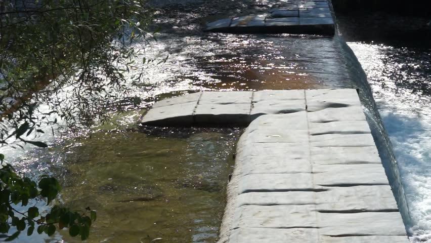 Dam on the river, Switzerland - HD stock video clip