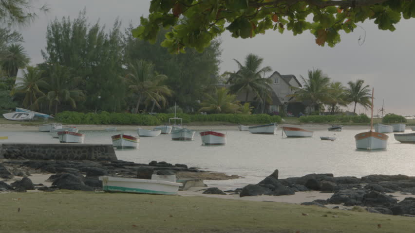WS PAN Boats anchored in small tropical port / Cap Malheureux, Mauritius - 06/07/2013 | Shutterstock HD Video #11852240
