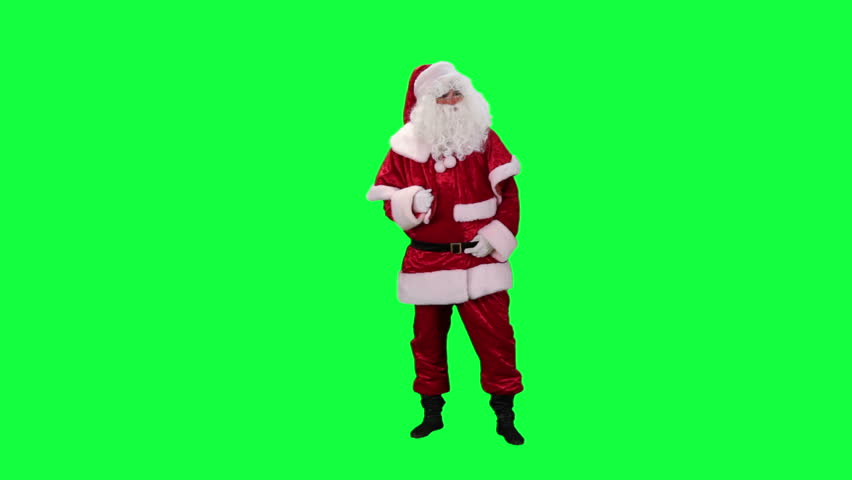 Santa Claus plays air guitar chroma key (green screen). Santa funny parodies guitarist isolated on green
