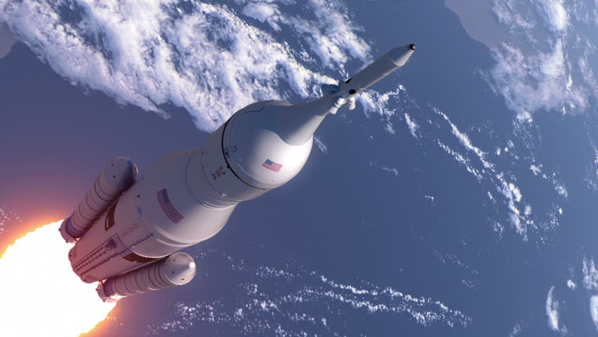 Space Launch System Takes Off In Stratosphere. 3D Animation.