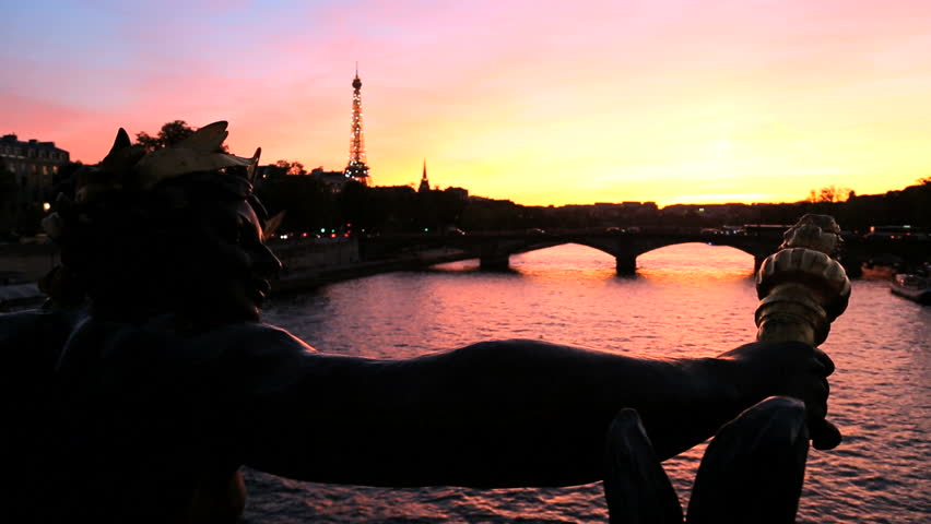 France - February 2015: France Paris Pont Alexandre 111 bridge River Seine Eiffel tower illuminated boat sunset cityscape travel capital - HD stock footage clip