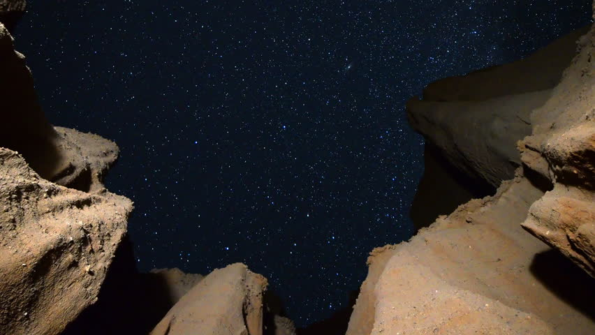 Astrophotography Time-lapse footage of starry sky over eroded sandstone canyon walls at Red Rock Canyon State Park in Mojave Desert, California -Long Shot-