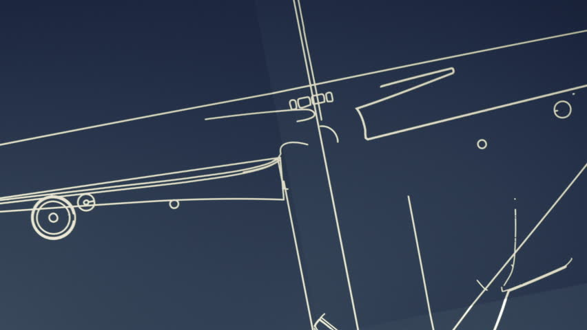 Aircraft Blueprint Smooth Camera Pan and Zoom - HD stock video clip