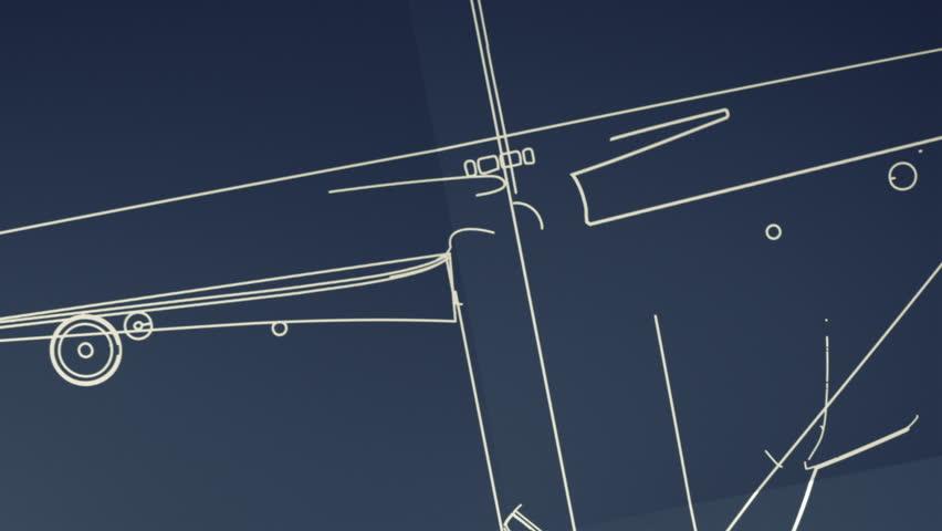 Aircraft Blueprint Smooth Camera Pan and Zoom - HD stock video clip