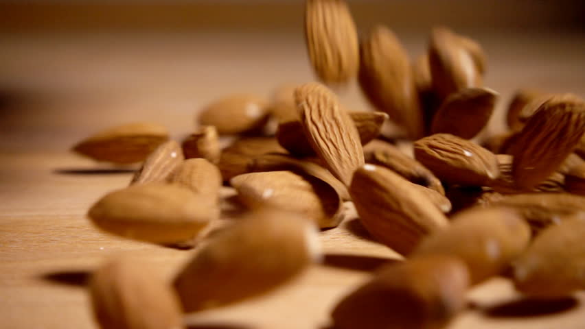 Almonds falling in slow motion