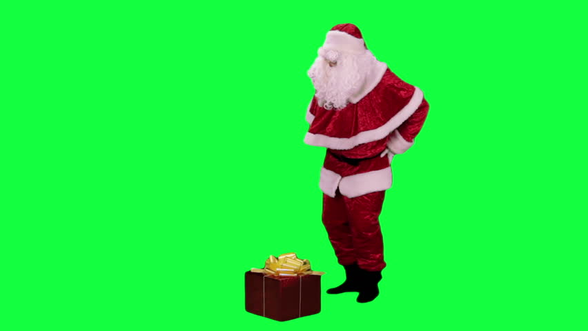 Santa Claus with a gift box chroma key (green screen). Santa brought present in the box isolated on green
