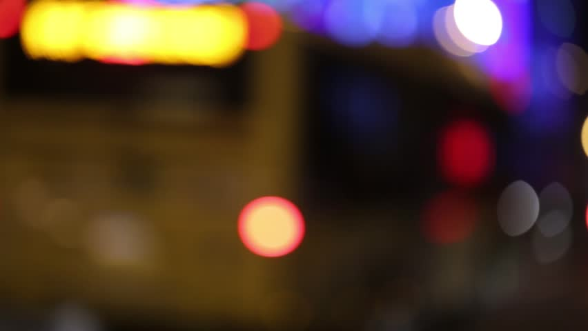 City Blur Background. Moving Bokeh Circles Of Night