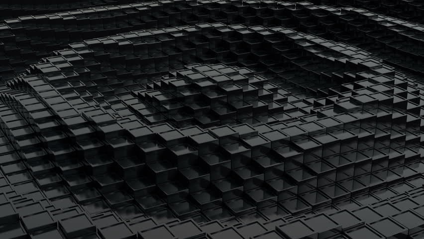 Black cubic surface in motion. Loop ready animation of cubes moving up and down. | Shutterstock HD Video #11977358