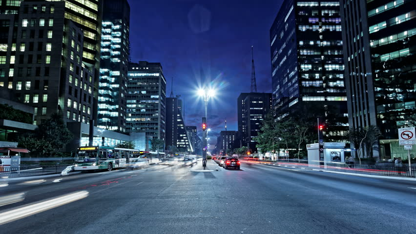 Avenida Paulista night traffic time lapse Sao Paulo Brazil. Intersection in the street with the most expensive real estate in South America. | Shutterstock HD Video #11978420