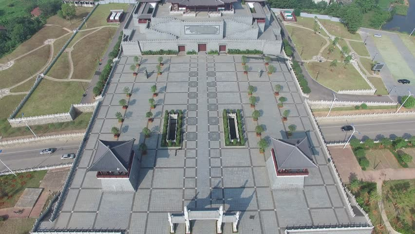 Aerial view of Fuzhou Nixiantai, a Tang dynasty building, landmark of Fuzhou City, Jiangxi Province   Shutterstock HD Video #12019010