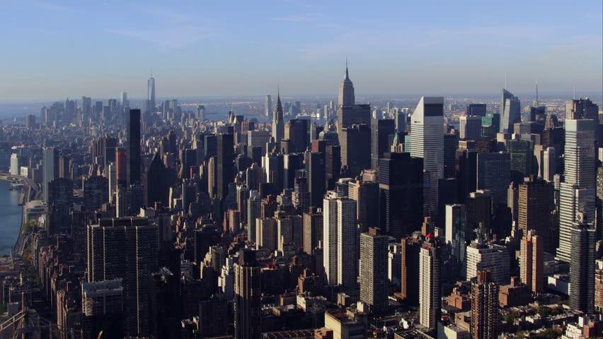 Aerial sunrise New York City skyline view of lower and Midtown Manhattan.  #12046136