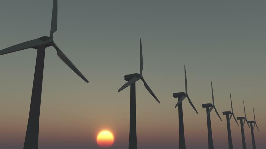4k Windmill Turbines Clean At Sunrise,Green Wind Energy,new power energy. cg_03006_4k - 4K stock footage clip