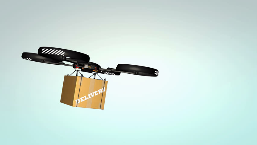 Computer generated, Drone delivery, quadcopter