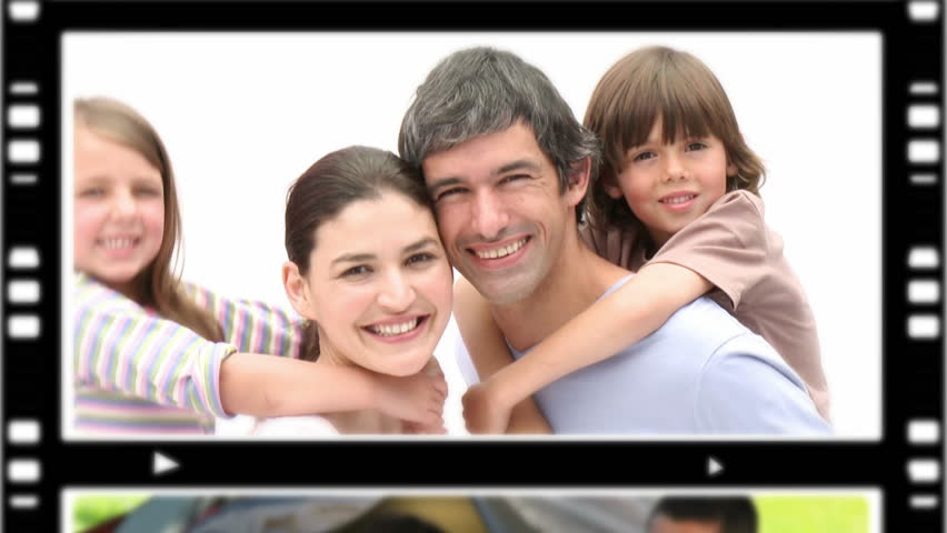 Montage of people spending time with their children at home amd outdoors - HD stock footage clip