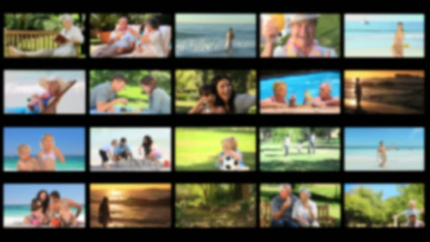 Montage of happy people in various situations outdoors - HD stock footage clip