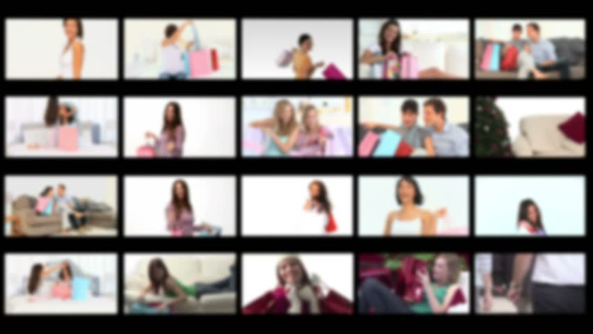 Montage of people happy having done their shopping - HD stock video clip
