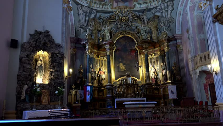 BUDAPEST, HUNGARY - SUMMER, 2015: Interiors church in Budapest. Hungary. Shot in 4K (ultra-high definition (UHD)).  - 4K stock video clip