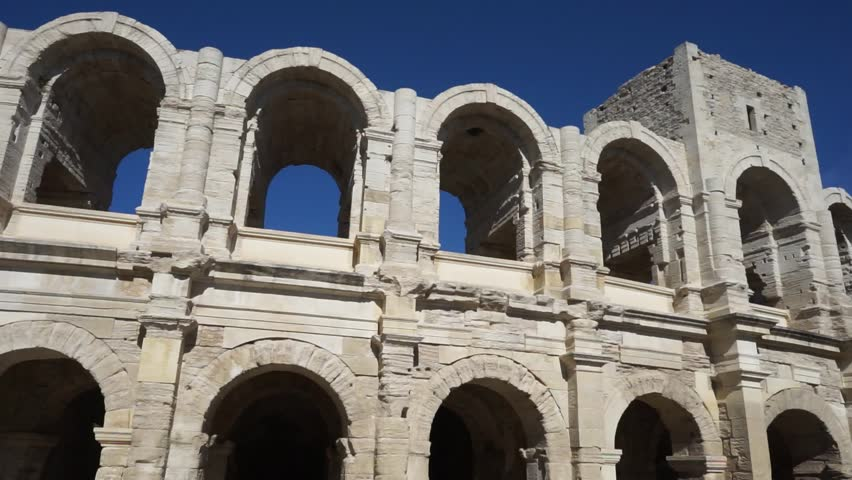 ARLES, FRANCE - CIRCA JUNE 2015 Wall wuth arches of Roman arena - HD stock video clip