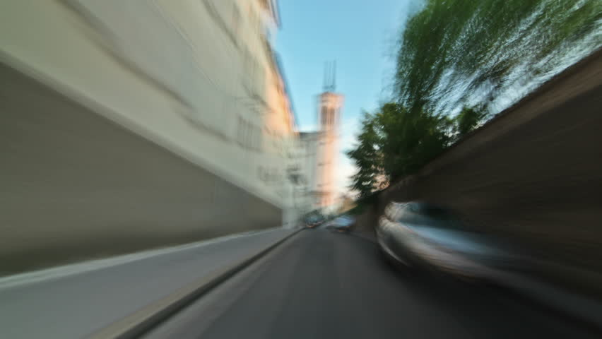 Driving time lapse in Lyon, France.