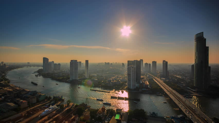 Bird's-eye view Time lapse view of Bangkok City Thailand | Shutterstock HD Video #12160148