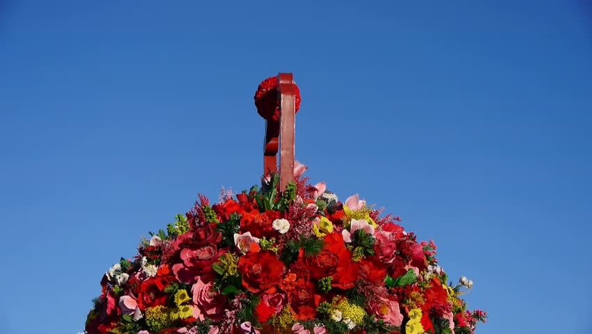 Baskets full of flowers.Beijing Tiananmen Square & national emblem of China. gh2_04306 | Shutterstock HD Video #12163379