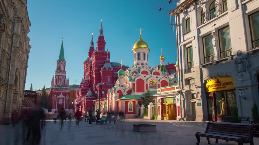 Moscow famous tourist street red square summer light 4k time lapse russia stock footage video - 4k wallpaper russia ...