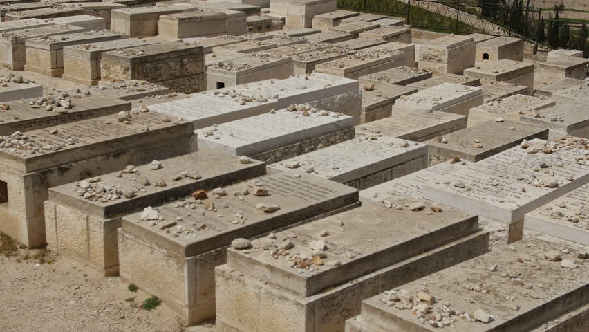 Mount of Olives Jewish Cemetery.It's the most ancient and important cemetery in Israel since First Temple Period It contains 70,000 tombs some of famous figures in Jewish history   Shutterstock HD Video #12181055