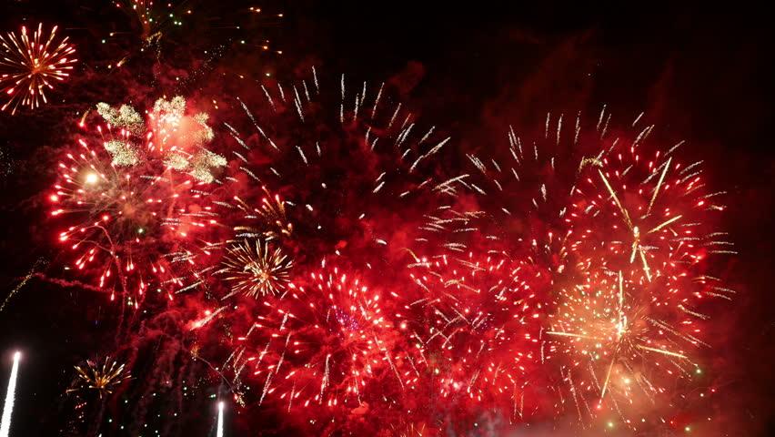 Fireworks. Holiday celebration. Colorful fireworks at holiday night. 4K UHD.