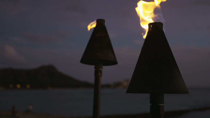 Tiki Torch Lights Hawaii Themed Stock Footage Video