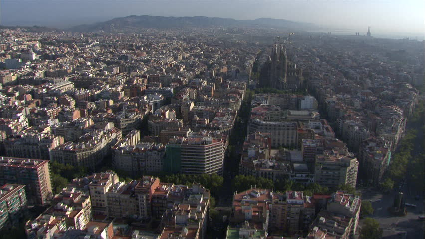 Aerial Barcelona Fly-Over Church